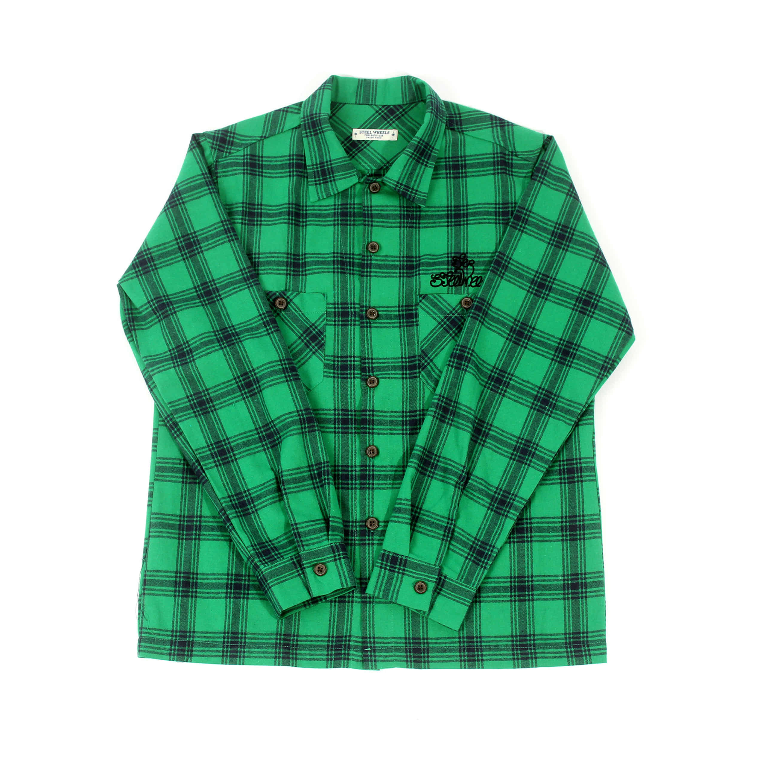 HERRINGBONE CHECK SHIRT-GREEN