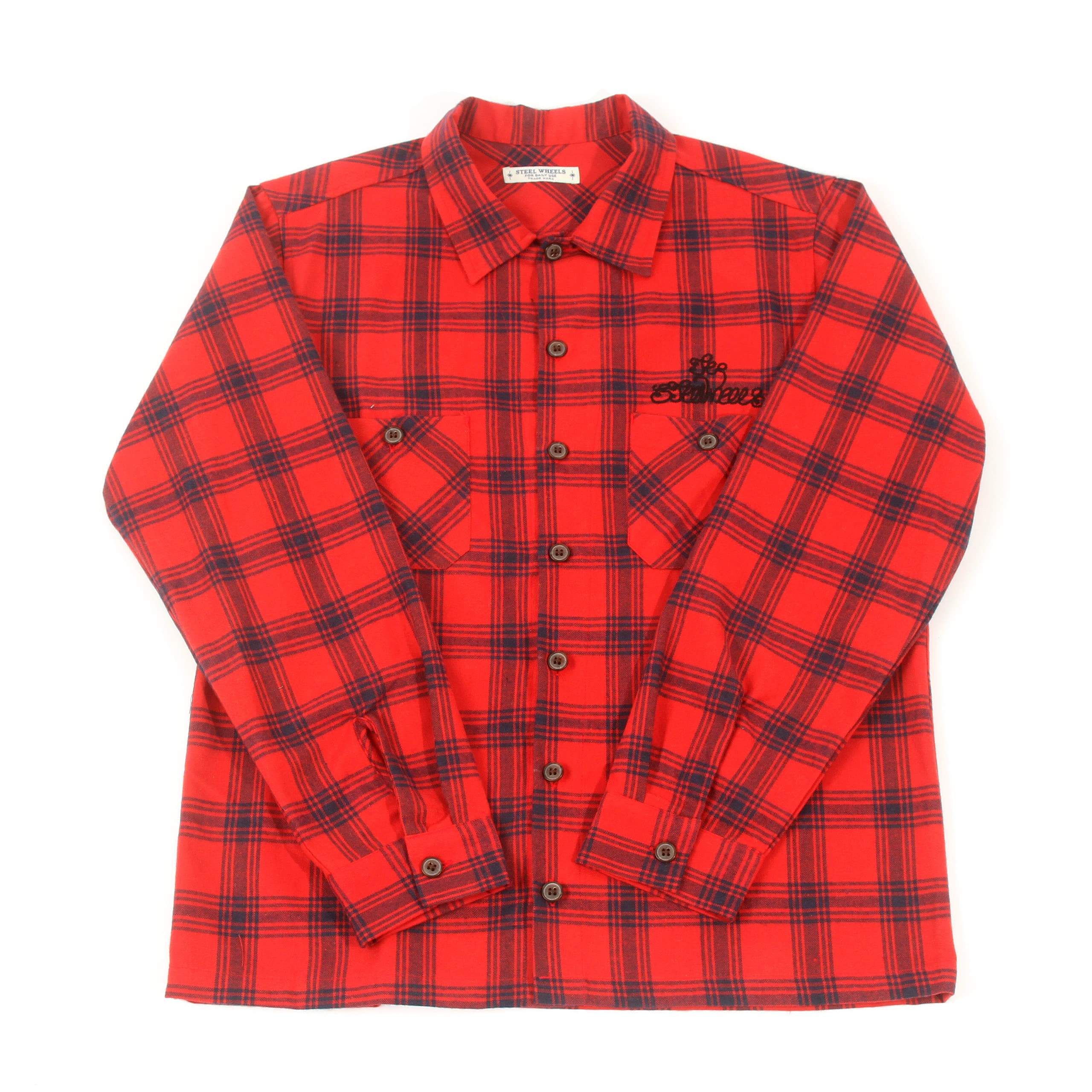 HERRINGBONE CHECK SHIRT-RED